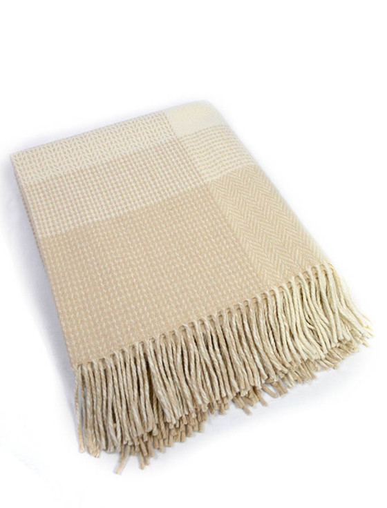 Wool and Cashmere Throw - Bone White Large Block