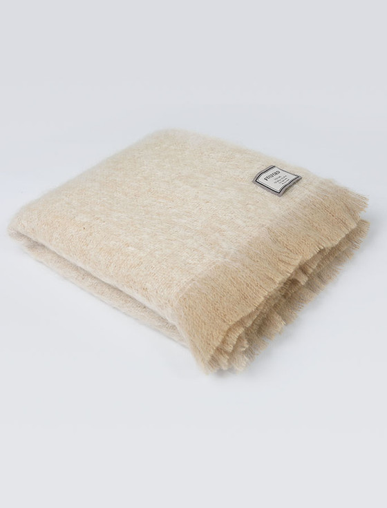 Mohair Throw - Camel White