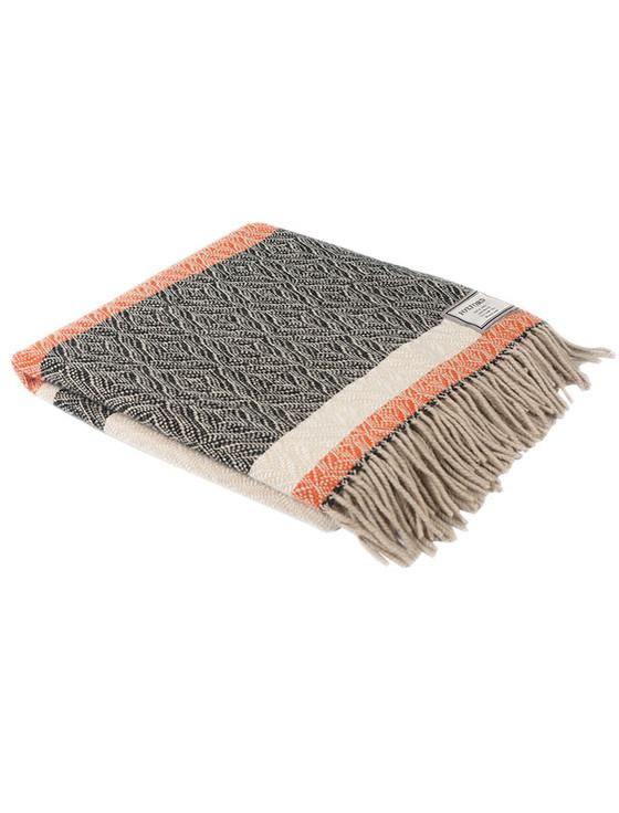 Merino Wool Throw - Black Cream Orange