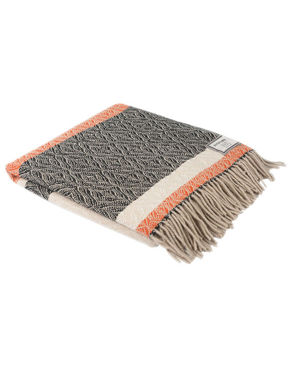 Merino Wool Throw - Black Cream Orange