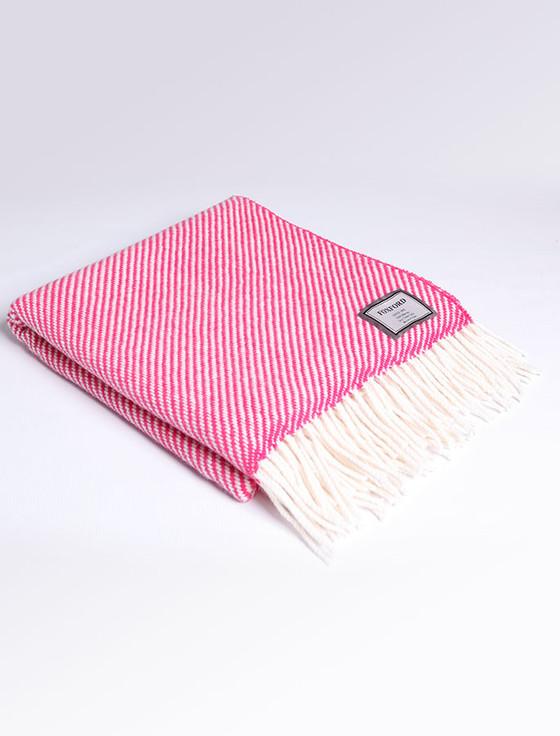 Merino Wool Throw - White Pink
