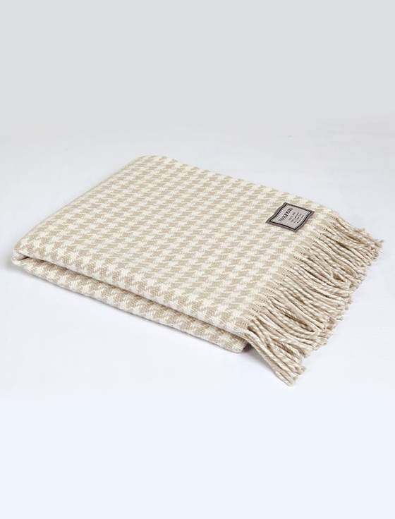 Merino Wool Throw - Beige Large Houndstooth