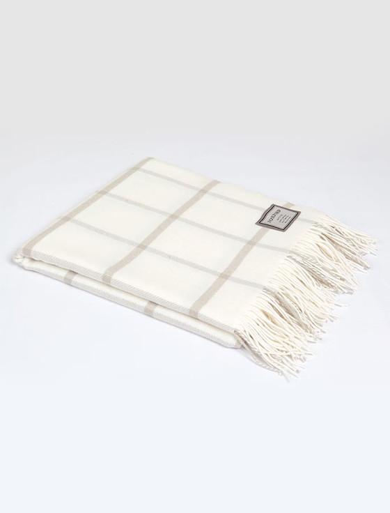 Lambswool Throw - Beige White Windowpane
