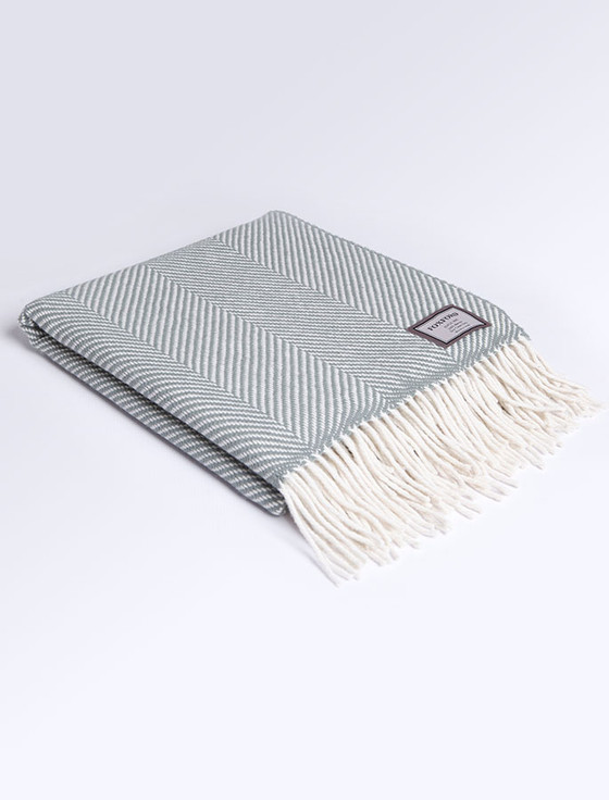 Wool Throw - Aqua Herringbone