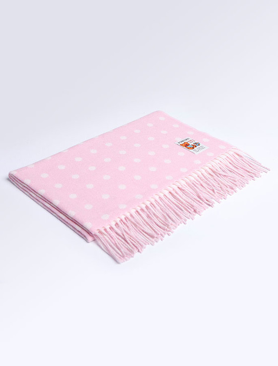 Lambswool Baby Throw - Pink Spot