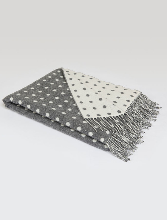 Lambswool Throw - Grey Spot