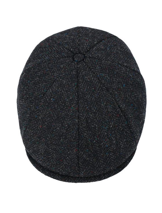 Donegal Tweed 8 Piece Panel Cap - Navy Fleck