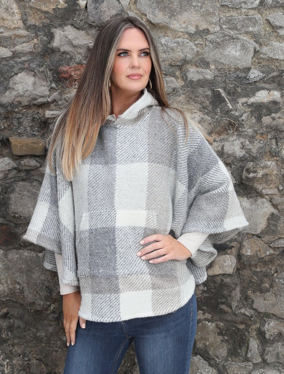 Kildare Herringbone Hooded Poncho - Multi-Beige