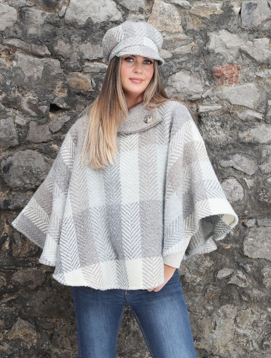 Laura One Button Herringbone Cape - Multi-Beige