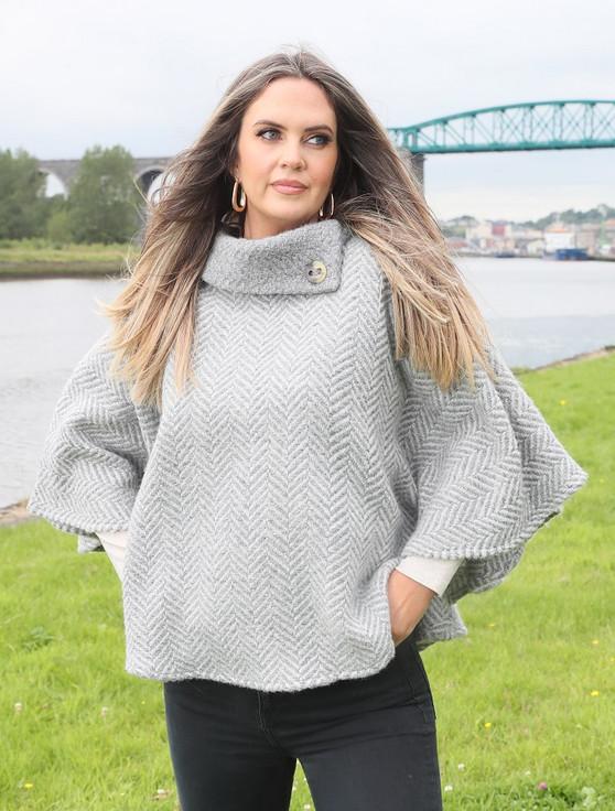 Laura One Button Herringbone Cape - Dove & Grey
