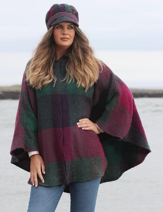 Rachel Button Up Cape - Multi-Mulberry