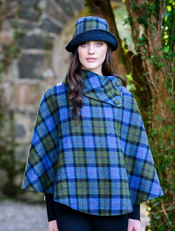 Mucros Tweed Poncho - Blue Green Plaid