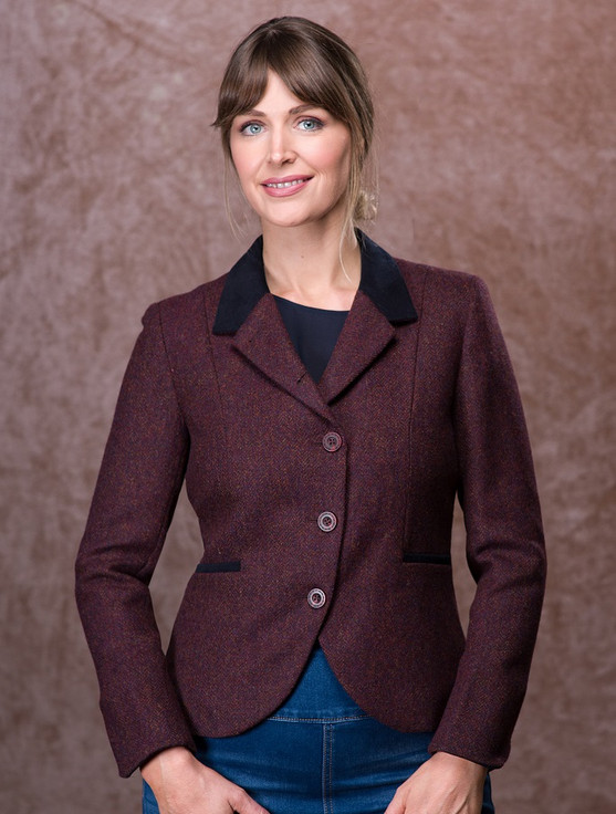 Saoirse Tweed Blazer – Berry Herringbone
