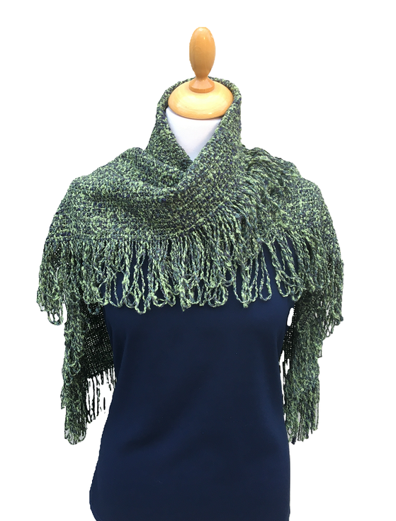 Looped Fringed Scarf Green Mix