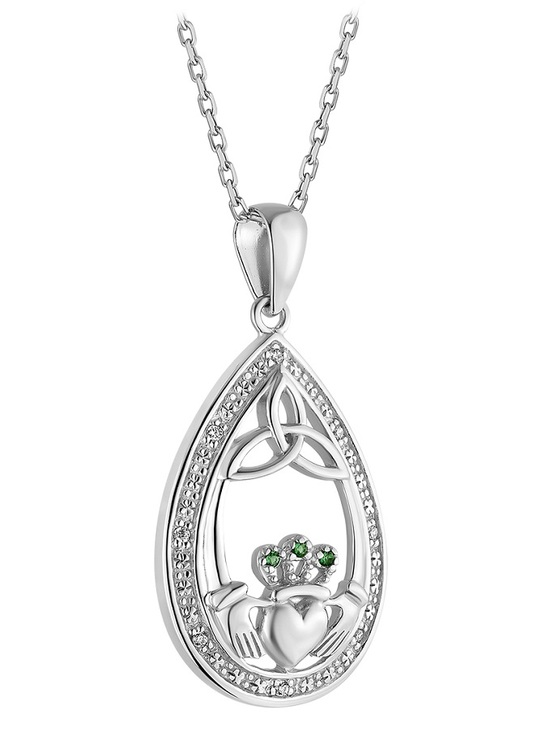 Sterling Silver Crystal Claddagh Oval Pendant