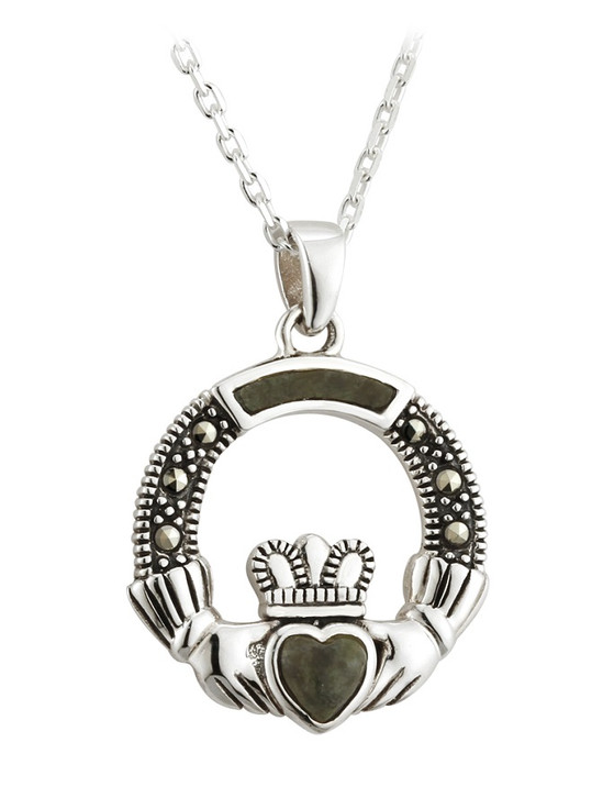 Silver Marble & Marcasite Claddagh Pendant