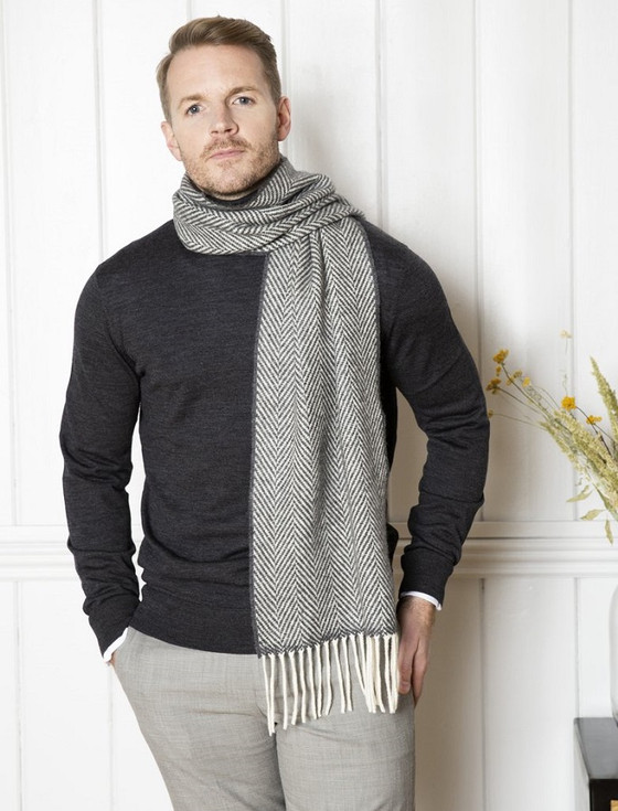 Cashmere Scarf - Oxford & White Herringbone
