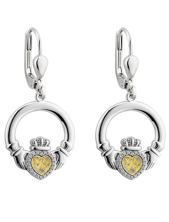 Silver Moving Gold Heart Claddagh Drop Earrings