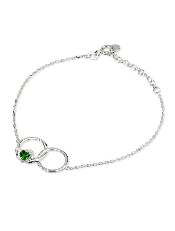 Silver Crystal Claddagh Circle Bracelet