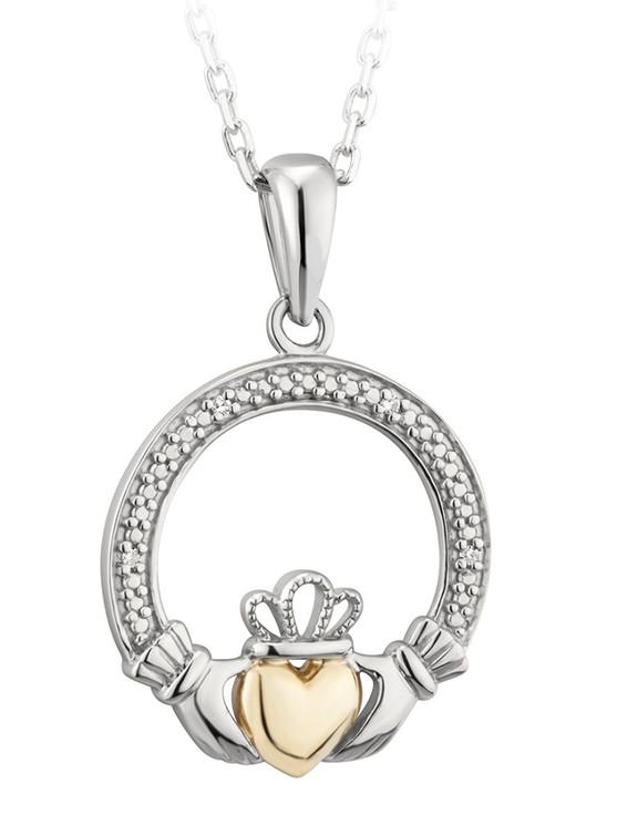 Silver & 10K Gold Diamond Claddagh Pendant