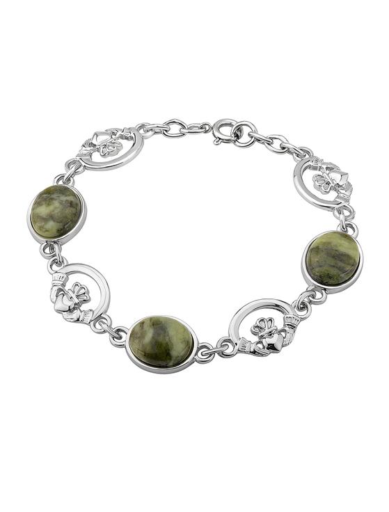 Connemara Marble Claddagh Linked Bracelet