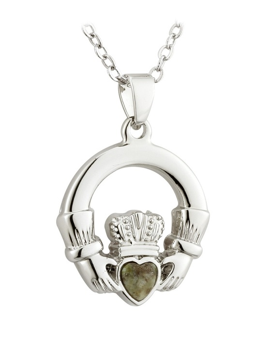 Silver Plated Connemara Marble Claddagh Pendant
