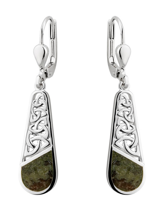 Silver Connemara Marble Trinity Knot Drop Earrings