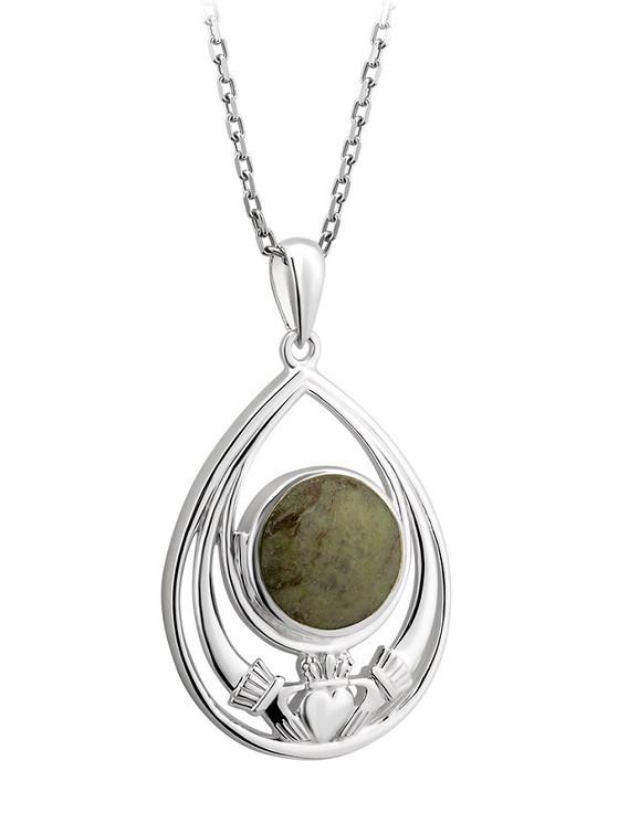 Silver Connemara Marble Claddagh Tear Drop Pendant