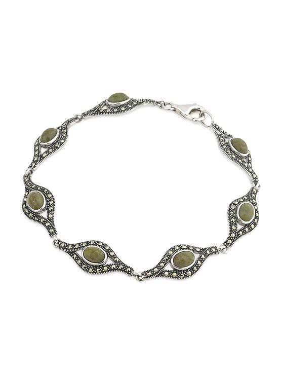 Silver Connemara Marble & Marcasite Bracelet