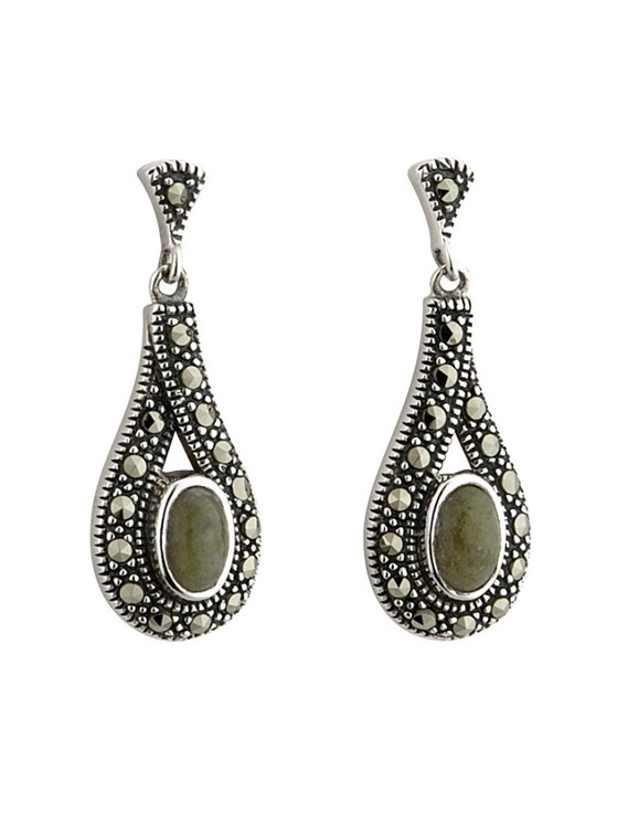 Silver Connemara Marble & Marcasite Tear Drop Earrings