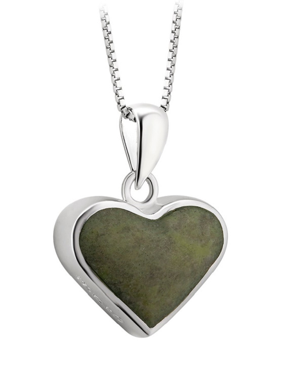 Silver Connemara Marble Heart Pendant