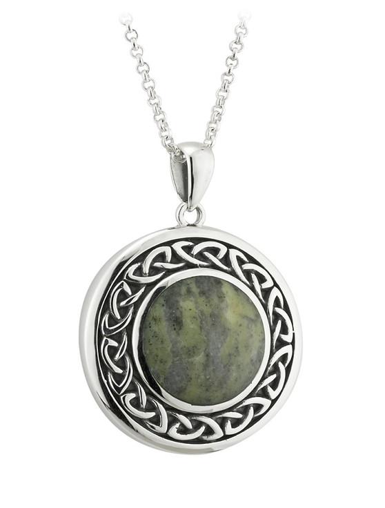 Sterling Silver Connemara Marble Celtic Pendant