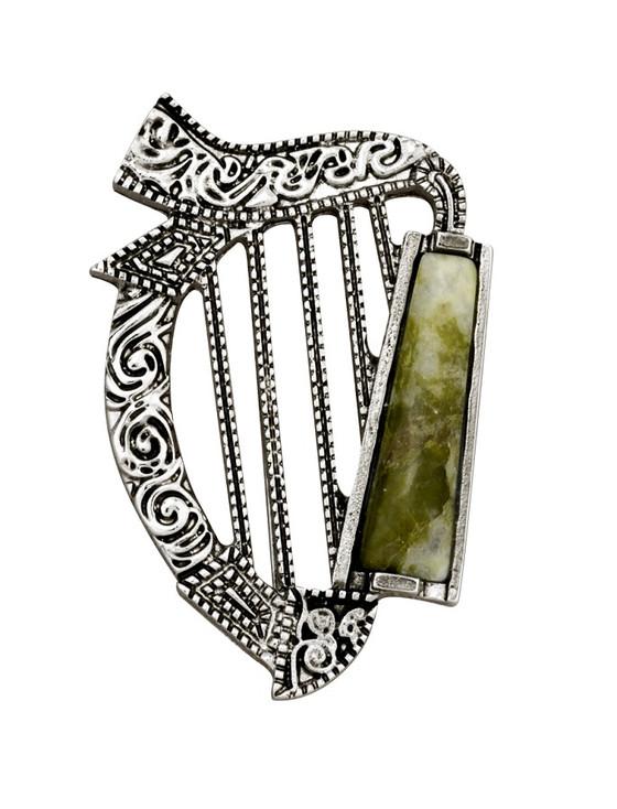 Connemara Marble & Rhodium Harp Brooch