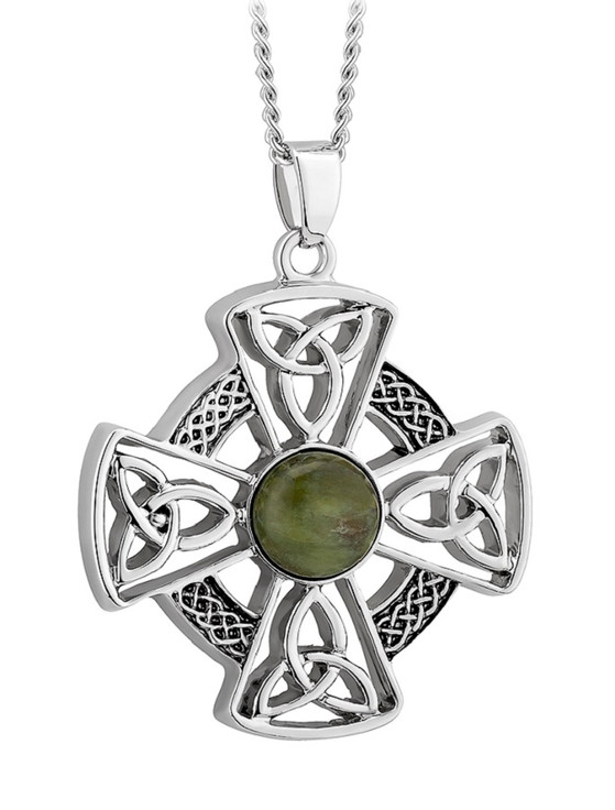 Connemara Marble Round Celtic Cross Pendant