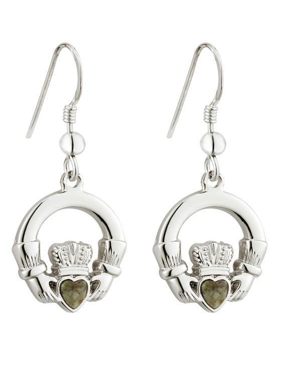 Rhodium Connemara Marble Claddagh Earrings