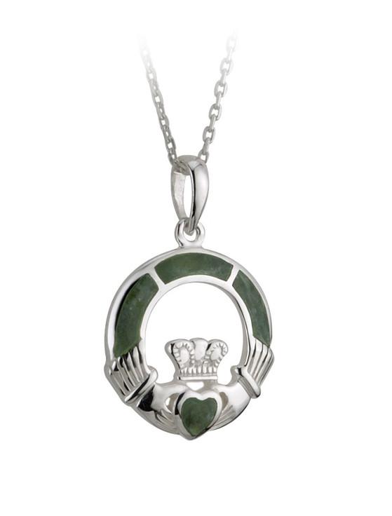 Silver Connemara Marble Claddagh Pendant