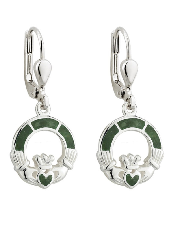Sterling Silver Connemara Marble Claddagh Drop Earrings