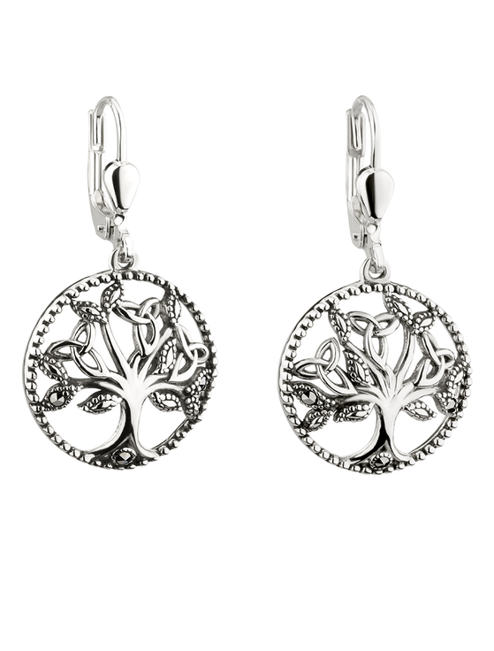 Silver Marcasite Tree of Life Drop Earrings