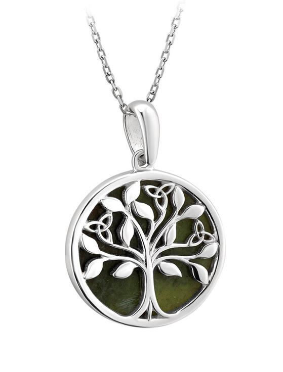 Silver Connemara Marble Tree of Life Pendant