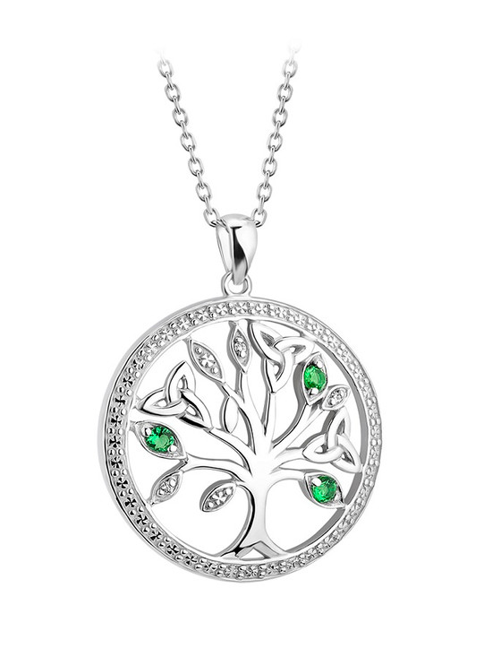 Silver Crystal Illusion Tree Of Life Pendant
