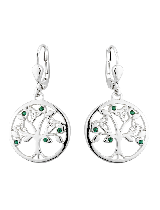Rhodium Plated CrystalTree of Life Drop Earrings