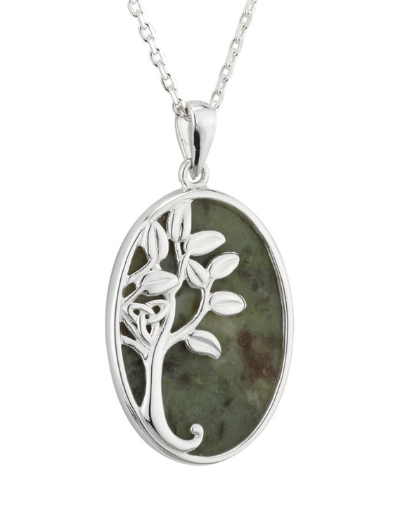 Connemara Marble Oval Tree of Life Necklace