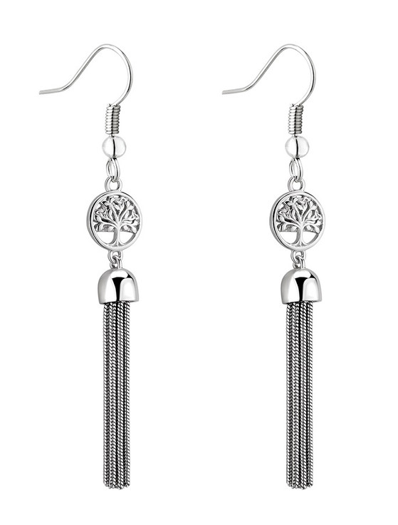 Sterling Silver Tree Of Life Tassel Earrings