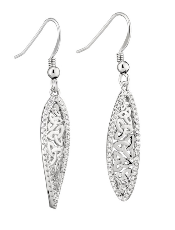 Sterling Silver Trinity Twist Drop Earrings