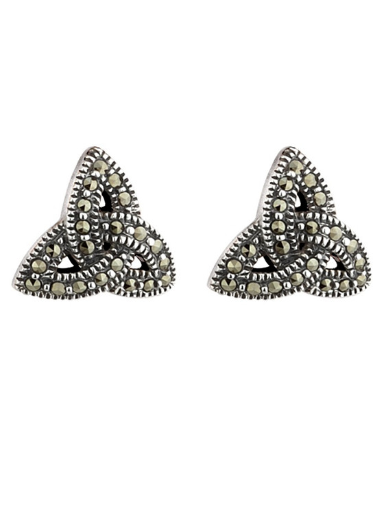 Sterling Silver Trinity Knot Marcasite Earrings