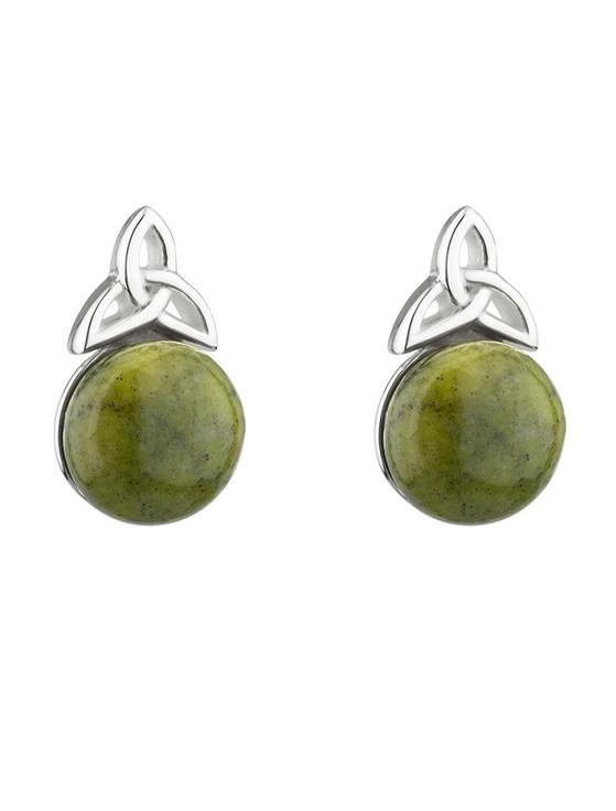 Silver Connemara Marble Trinity Knot Stud Earrings