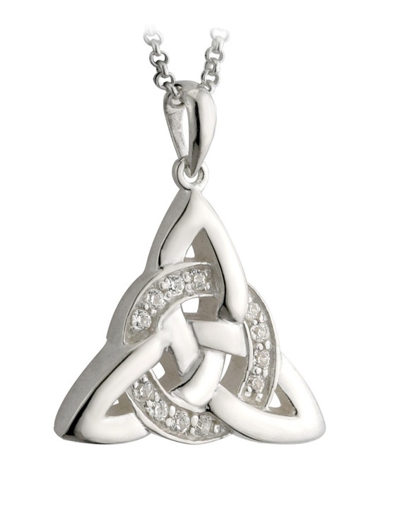 Sterling Silver Cubic Zirconia Celtic Knot Pendant