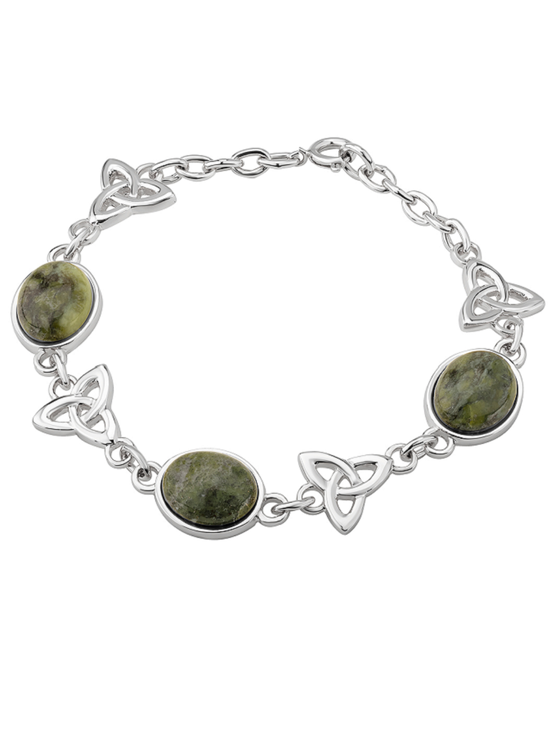Rhodium Marble Trinity Knots Linked Bracelet