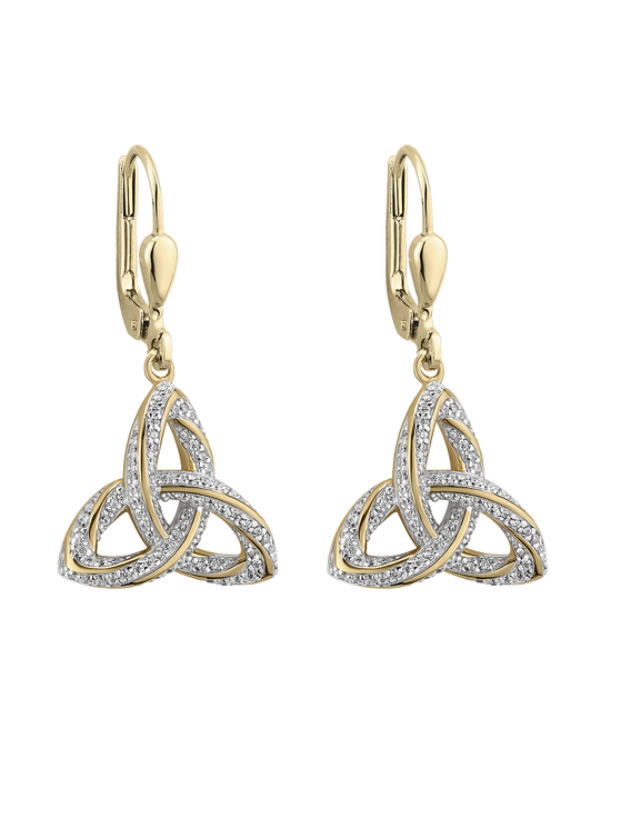 Gold Plated Silver & Diamond Trinity Knot Drop Earrings