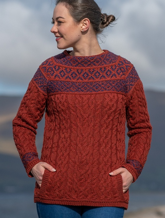 Women's Merino Fair Isle Sweater With Pockets - Sienna